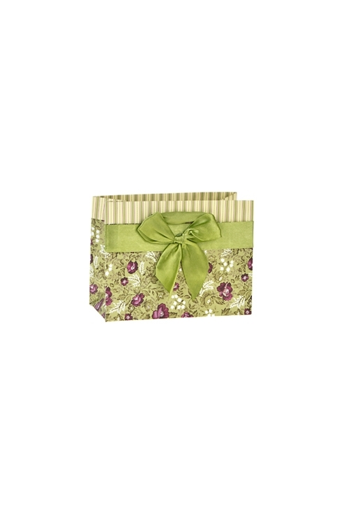 Пакет подарочный Цветочное покрывалоСувениры и упаковка<br>14.5*6.5*11см, бум., матовый, с декором<br>
