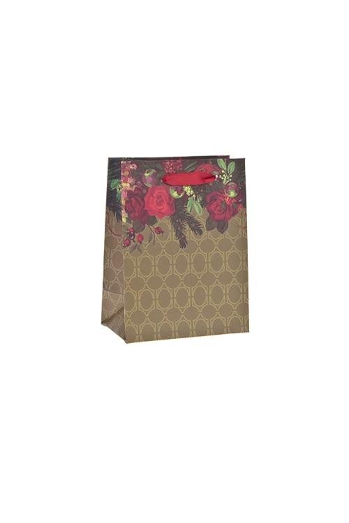 Пакет подарочный Бархатные розыСувениры и упаковка<br>11*6.5*14см, бум., матовый<br>