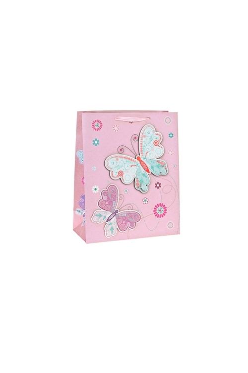 Пакет подарочный Парящие бабочкиПодарочные пакеты<br>11*6.5*14.5см, бум., матовый, с декором<br>