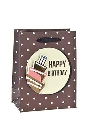 Пакет подарочный Праздничный тортикПакеты «С Днем рождения»<br>11*6.5*14.5см, бум., матовый, с декором<br>