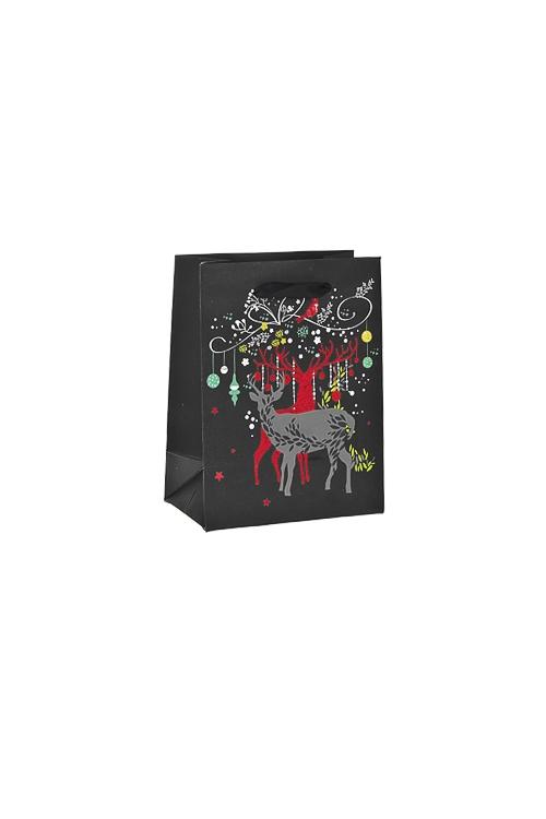 Пакет подарочный новогодний Благородные олениСувениры и упаковка<br>11*6.5*14см, бум., матовый, с декором<br>