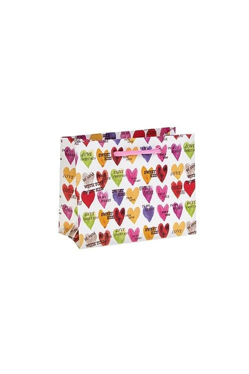 Пакет подарочный Яркие сердечкиСувениры и упаковка<br>14*6.5*11см, бум., матовый<br>