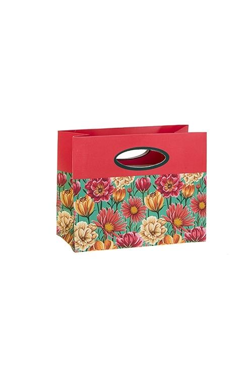 Пакет подарочный Яркие цветыСувениры и упаковка<br>14*6.5*11см, бум., матовый<br>