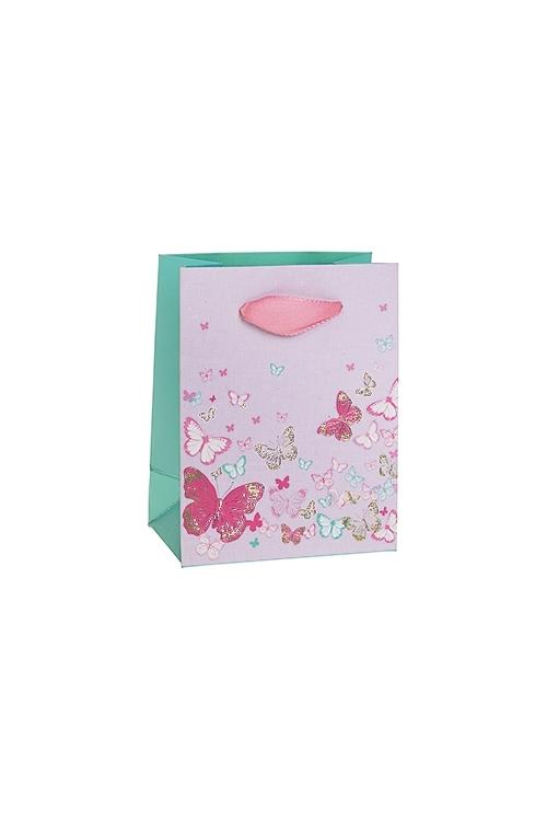 Пакет подарочный Яркие бабочкиСувениры и упаковка<br>11*6.5*14см, бум., матовый, с декором<br>