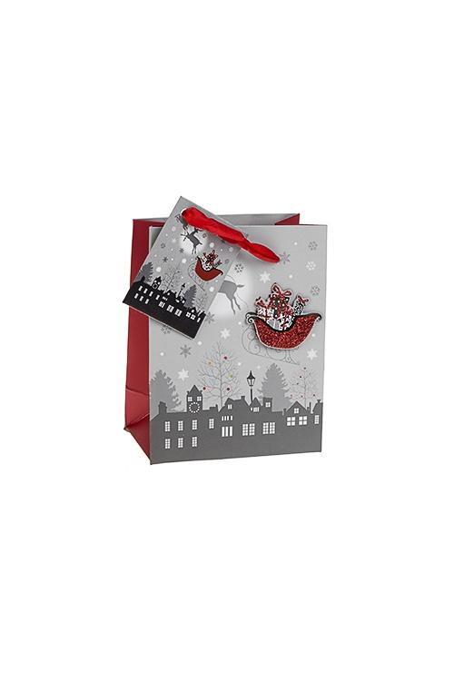 Пакет подарочный новогодний Волшебные саниПакеты «С Новым годом и Рождеством»<br>11*6.5*14см, бум., матовый, с декором<br>