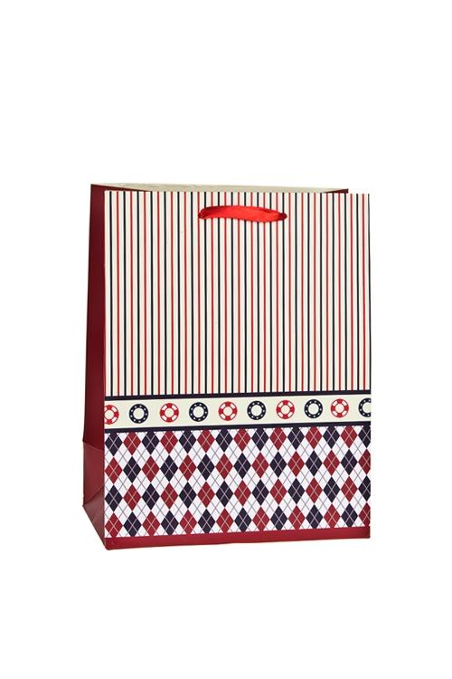 Пакет подарочный Цветной узорСувениры и упаковка<br>18*10*23см, бум., матовый<br>