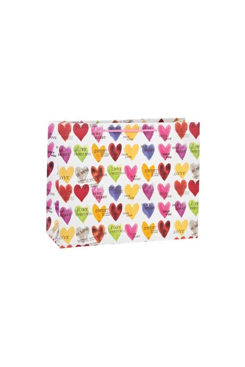 Пакет подарочный Яркие сердечкиСувениры и упаковка<br>23*10*18см, бум., матовый<br>