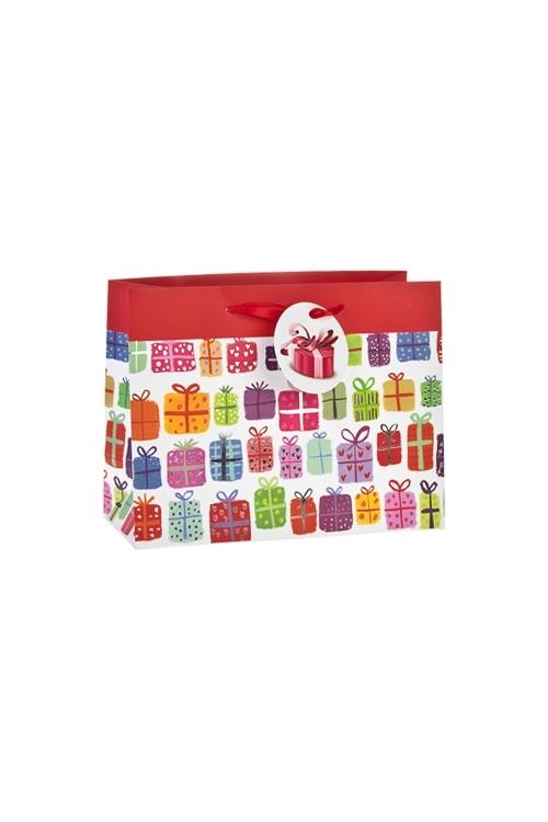 Пакет подарочный ПодарочкиПакеты «С Днем рождения»<br>23*10*18см, бум., матовый, с декором<br>