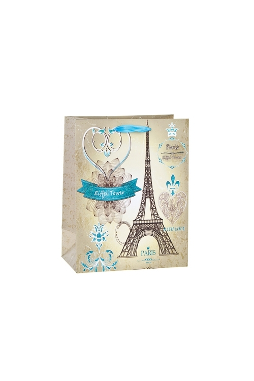 Пакет подарочный Парижская башняПодарочные пакеты<br>18*10*23см, бум., матовый, с декором<br>