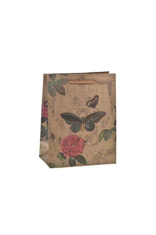 Пакет подарочный Бабочка и розаСувениры и упаковка<br>18*10*23см, крафтовая бумага<br>