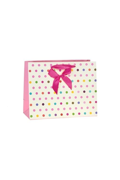 Пакет подарочный Яркие кружочкиПодарки для женщин<br>23*10*18см, бум., матовый, с декором<br>