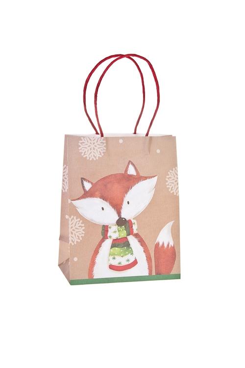 Пакет подарочный ЛисенокПакеты «С Новым годом и Рождеством»<br>18*10*23см, бумага<br>