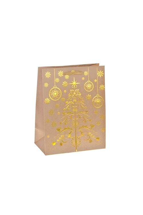 Пакет подарочный новогодний Золотая елочкаСувениры и упаковка<br>18*10*23см, крафтовая бумага, с декором<br>