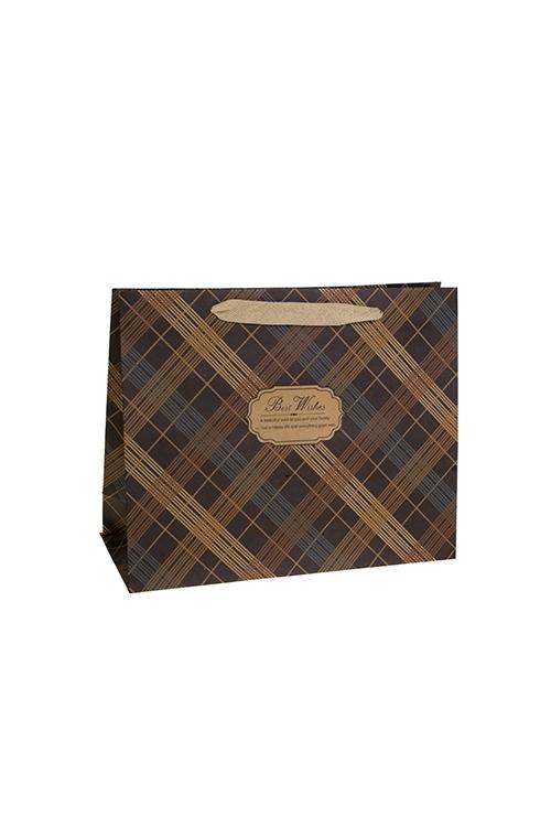 Пакет подарочный КлеткаСувениры и упаковка<br>23*10*18см, крафтовая бумага<br>