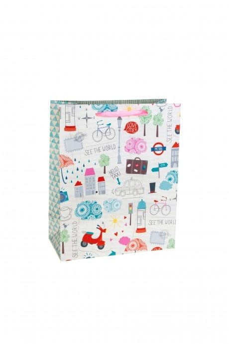Пакет подарочный Городские зарисовкиСувениры и упаковка<br>18*10*23см, бум., матовый<br>