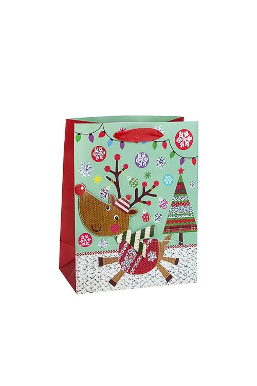 Пакет подарочный новогодний ОлененокСувениры и упаковка<br>18*10*23см, бум., матовый, с декором<br>