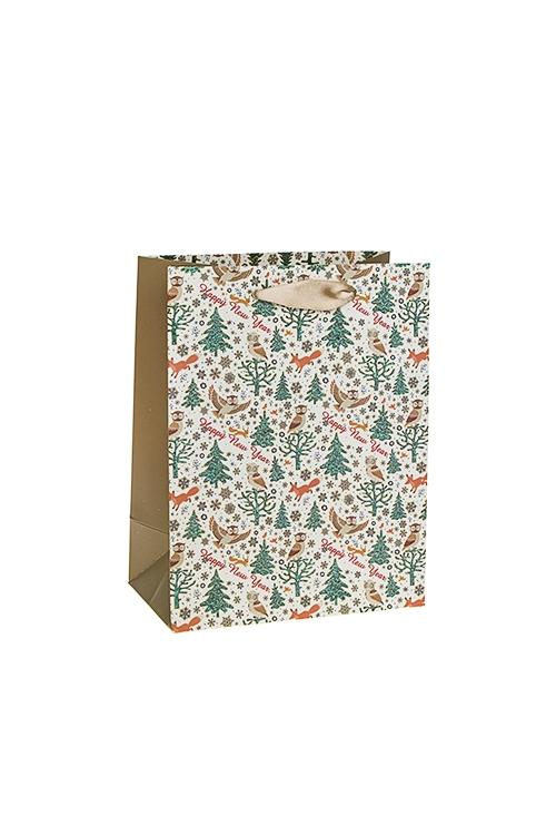 Пакет подарочный новогодний Лесные обитателиСувениры и упаковка<br>18*10*23см, бум., матовый, с декором<br>