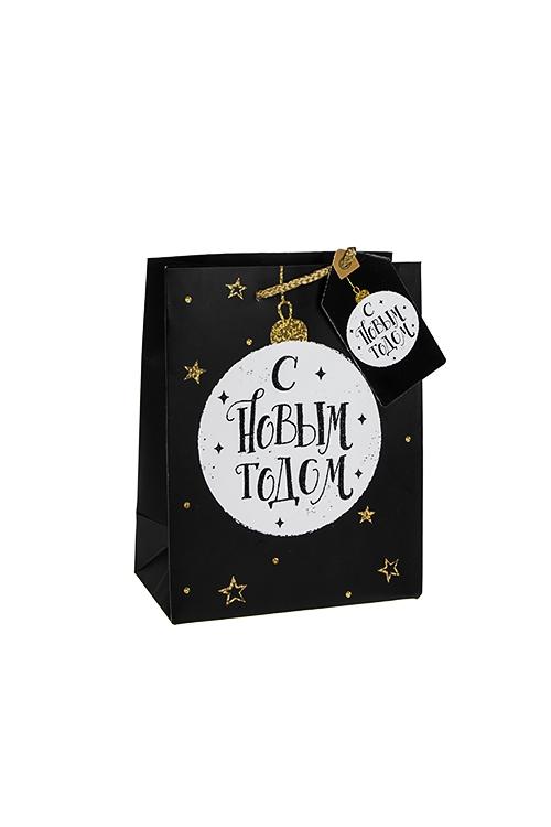 Пакет подарочный новогодний Елочный шарСувениры и упаковка<br>18*10*23см, бум., матовый, с декором<br>