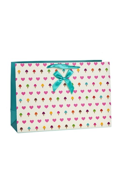 Пакет подарочный СердечкиСувениры и упаковка<br>34*12*23см, бум., матовый, с декором<br>