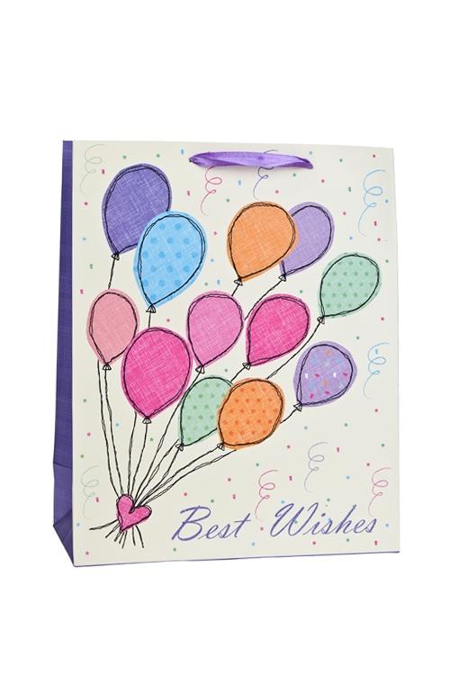 Пакет подарочный Разноцветные воздушные шарикиСувениры и упаковка<br>26*12*32см, бум., матовый<br>