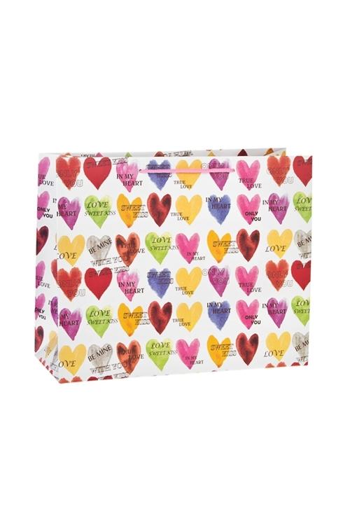 Пакет подарочный Яркие сердечкиСувениры и упаковка<br>32*12*26см, бум., матовый<br>