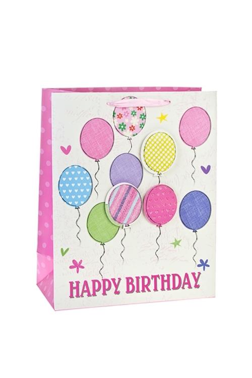 Пакет подарочный ШарикиПакеты «С Днем рождения»<br>26*12*32см, бум., матовый, с декором<br>