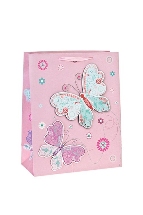 Пакет подарочный Парящие бабочкиПодарочные пакеты<br>26*12*32см, бум., матовый, с декором<br>