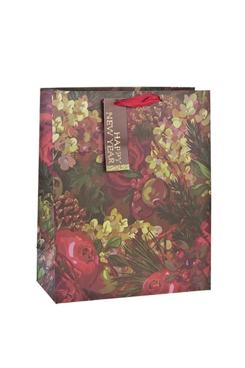 Пакет подарочный новогодний ХвояСувениры и упаковка<br>26*12*32см, бум., матовый, с декором<br>