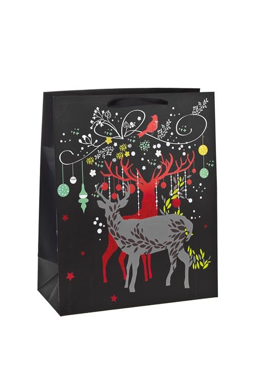 Пакет подарочный новогодний Благородные олениСувениры и упаковка<br>26*12*32см, бум., матовый, с декором<br>