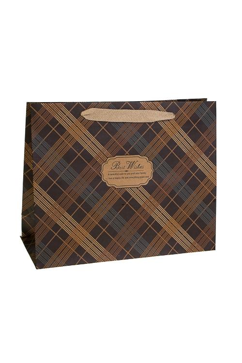 Пакет подарочный КлеткаСувениры и упаковка<br>32*12*26см, крафтовая бумага<br>