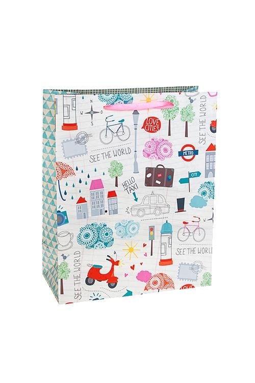 Пакет подарочный Городские зарисовкиСувениры и упаковка<br>26*12*32см, бум., матовый<br>