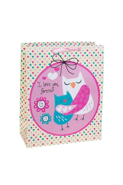 Пакет подарочный Влюбленные совушкиСувениры и упаковка<br>26*12*32см, бум., матовый, с декором<br>