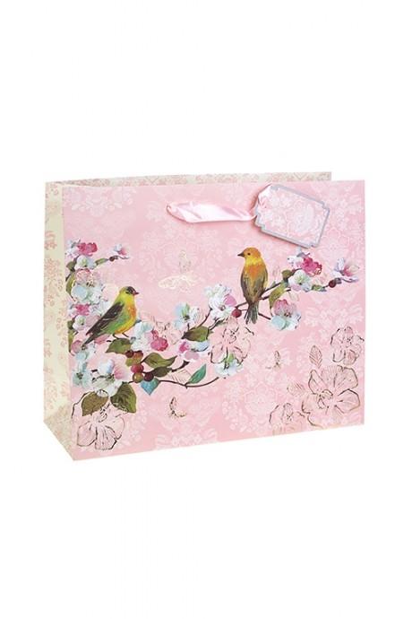 Пакет подарочный Птички на веткеСувениры и упаковка<br>32*12*26см, бум., матовый, с декором<br>