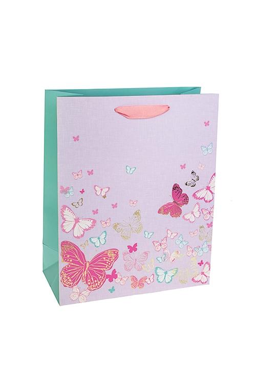 Пакет подарочный Яркие бабочкиСувениры и упаковка<br>26*12*32см, бум., матовый, с декором<br>