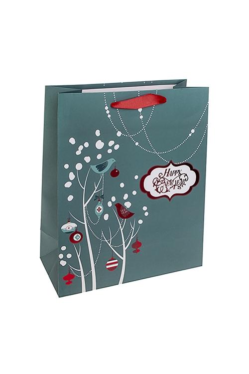 Пакет подарочный новогодний Лесные птичкиПакеты «С Новым годом и Рождеством»<br>26*12*32см, бум., матовый, с декором<br>