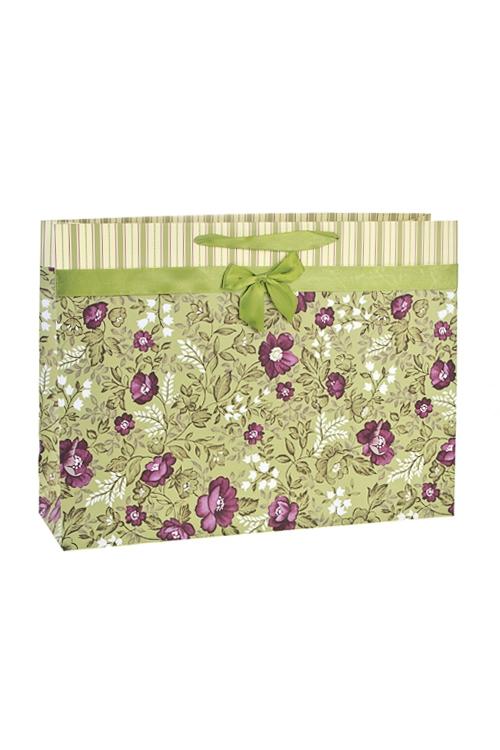 Пакет подарочный Цветочное покрывалоСувениры и упаковка<br>42*12*31см, бум., матовый, с декором<br>