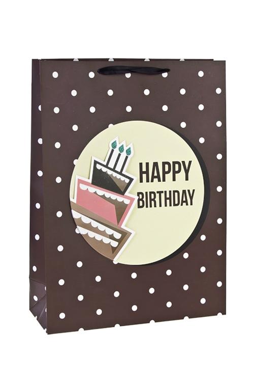 Пакет подарочный Праздничный тортикПакеты «С Днем рождения»<br>31*12*42см, бум., матовый, с декором<br>