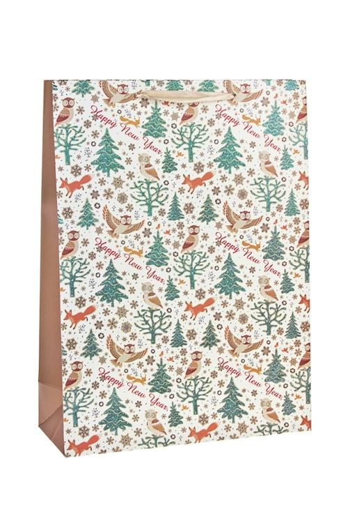 Пакет подарочный новогодний Лесные обитателиСувениры и упаковка<br>31*12*42см, бум., матовый, с декором<br>