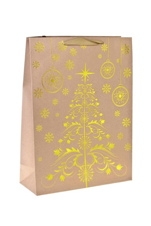 Пакет подарочный новогодний Золотая елочкаСувениры и упаковка<br>31*12*42см, крафтовая бумага, с декором<br>