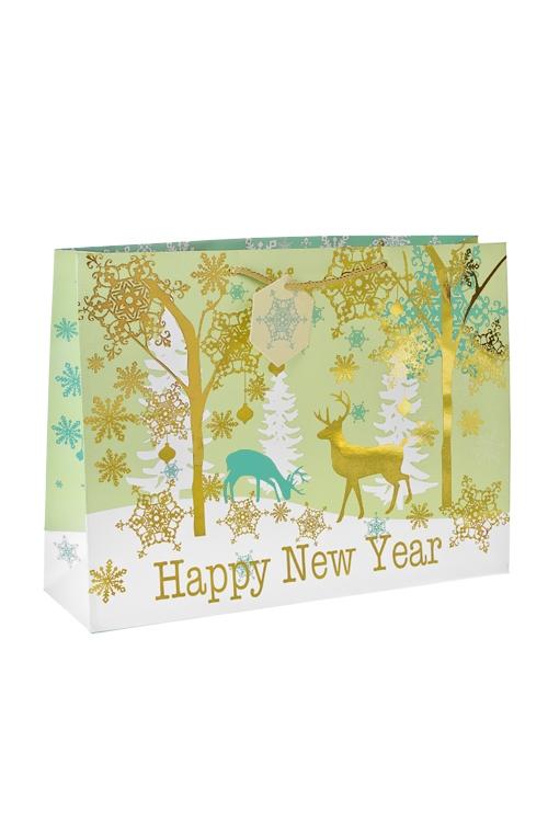 Пакет подарочный новогодний Лесной оленьСувениры и упаковка<br>42*12*31см, бум., матовый, с декором<br>