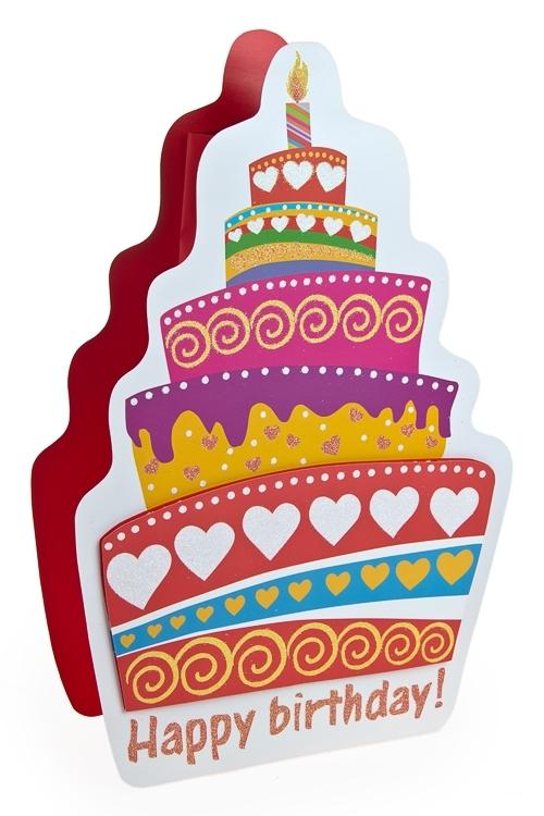 Пакет подарочный Праздничный тортПакеты «С Днем рождения»<br>10*9*33см, бум., с декором<br>