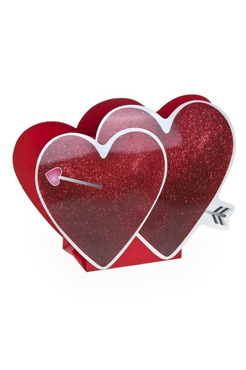 Пакет подарочный Два сердцаСувениры и упаковка<br>15*10*17.5см, бум., с декором<br>