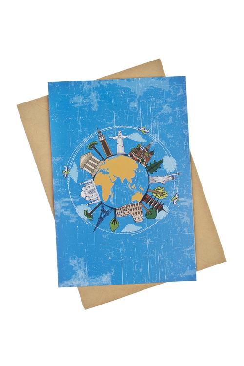 Открытка подарочная Вокруг светаПодарок путешественнику<br>17*11см, бум., с конвертом<br>