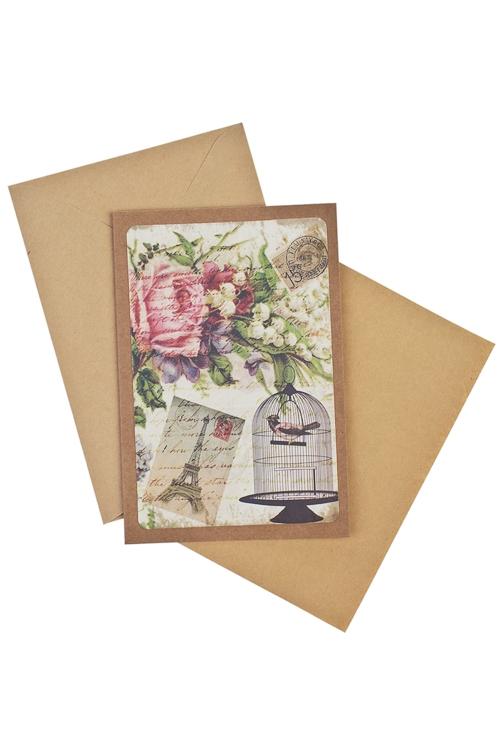 Открытка подарочная Птичка в клеткеСувениры и упаковка<br>17*11см, бум., с конвертом<br>