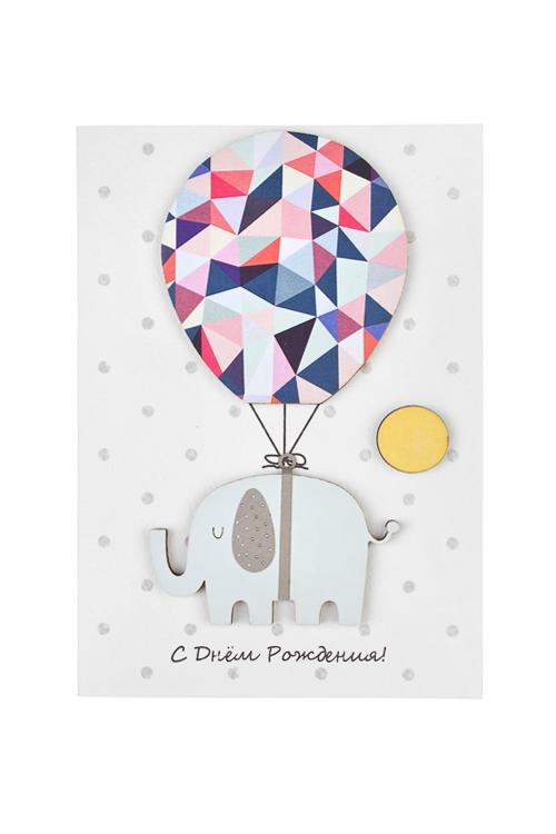 Открытка подарочная На воздушном шареОткрытки ручной работы<br>10*15см, с кармашком, ручная работа<br>