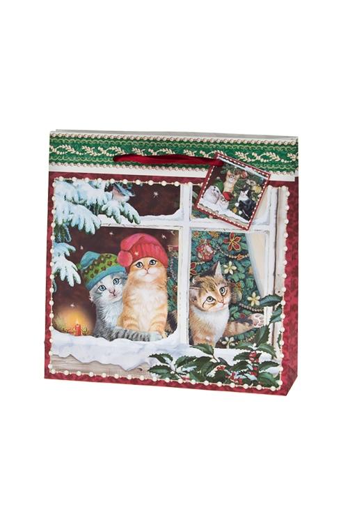 Пакет подарочный новогодний Котики в колпачкахСувениры и упаковка<br>21*6*21см, бум.<br>