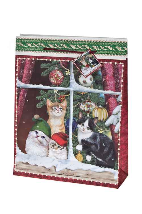 Пакет подарочный новогодний Котики в колпачкахСувениры и упаковка<br>27*10*34см, бум.<br>