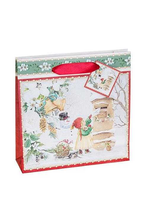 Пакет подарочный новогодний Праздничная почтаСувениры и упаковка<br>21*6*21см, бум.<br>