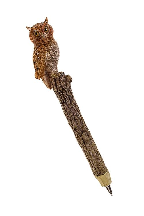 Ручка шариковая СоваРучки и карандаши<br>Дл=16см, полирезин, коричн.<br>