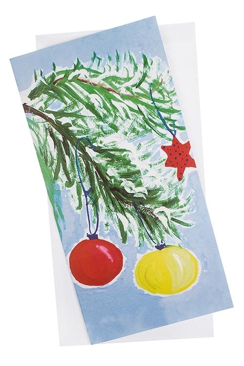 Открытка подарочная новогодняя Еловая веточкаОткрытки «С Новым годом и Рождеством»<br>10.5*21см, с конвертом<br>